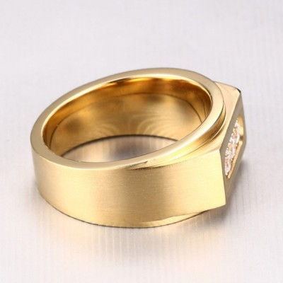 Titanium Round Cut White Sapphire Gold Men's Ring
