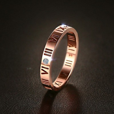 Titanium Round Cut White Sapphire Roman Numerals Rose Gold Promise Rings For Her