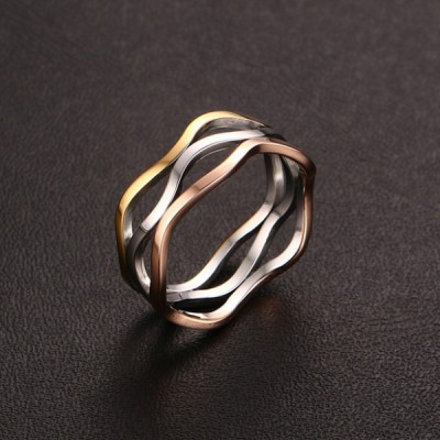 Titanium Silver Gold Rose Gold Promise Rings For Her