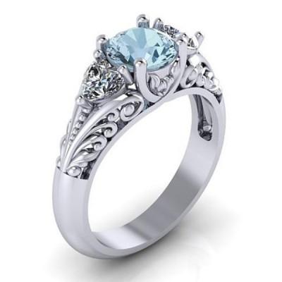 Vintage Round Cut Aquamarine Engagement Ring