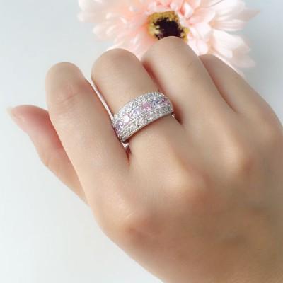 Elegant Colorful Gemstones Women's Wedding Band