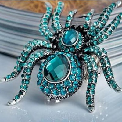 Gothic Blue Spider Ring