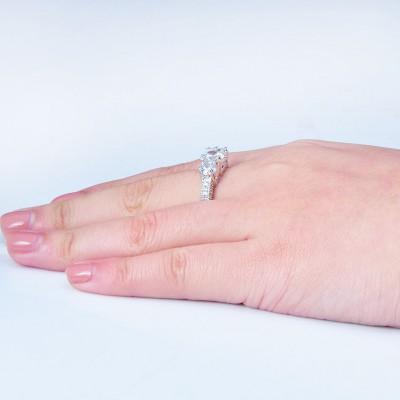 Round Cut White Sapphire 3-Stone Engagement Ring
