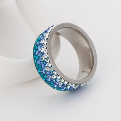 Beautiful Round Cut Three-Color Gemstone Bands for Women