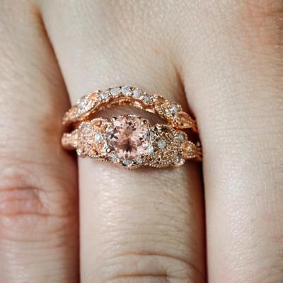 Rose Gold Round Cut Topaz Bridal Sets