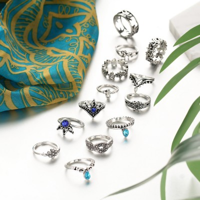 Vintage Style Moon and Flower Hollow 10-Piece Ring Sets