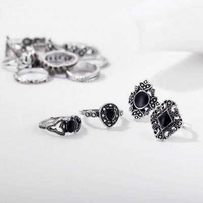 Fashion Black Sapphire Lotus Hollow 15-Piece Ring Sets