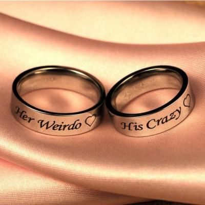 Silver His Crazy Her Weirdo Couple Rings