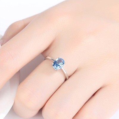 Oval Cut Aquamarine 925 Sterling Silver Promise Ring
