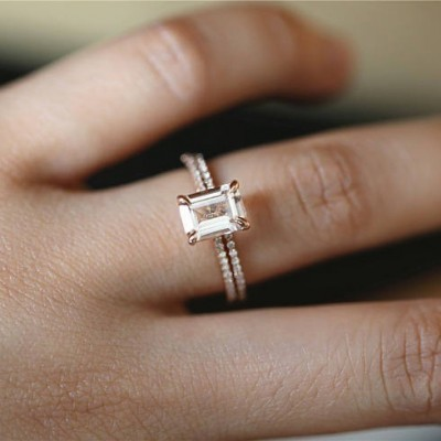 Emerald Cut Orange Sapphire Rose Gold Bridal Sets