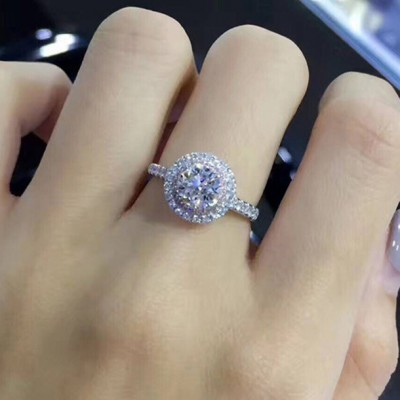Round Cut White Sapphire Double Halo Engagement Rings