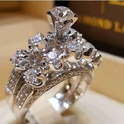 Round Cut White Sapphire 2-Piece Bridal Sets