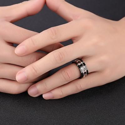 Titanium Roman Numerals Rotatable Men's Ring