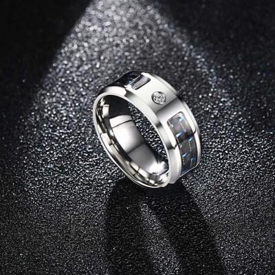 Cool Round Cut White Sapphire Titanium Steel Men's Ring