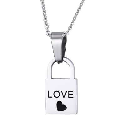 Love Design Lock and Key 925 Sterling Silver Necklace