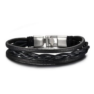 Black Leather Buckle 925 Sterling Silver Bracelet