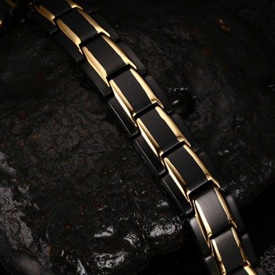 Cool Black and Gold 925 Sterling Silver Chain Bracelet