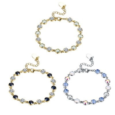 Round Cut White/Black/Light Blue Sapphire Gold/Silver Titanium Bracelets