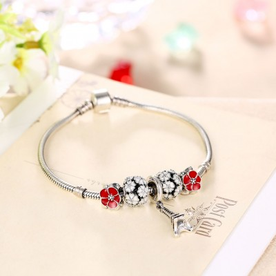 Red and White Petals Eiffel Tower Pendant S925 Silver Bracelets