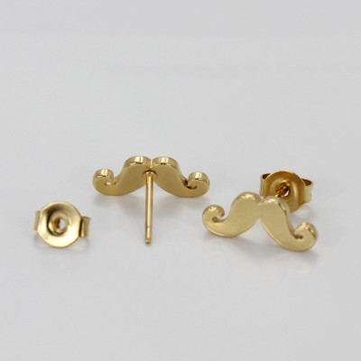 Moustache Design Gold 925 Sterling Silver Earrings