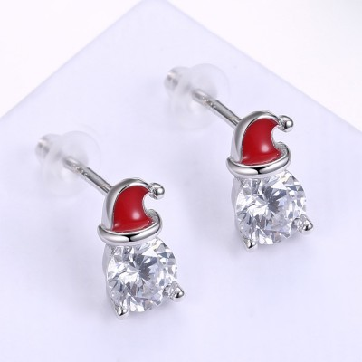 Round Cut White Sapphire Red Hat S925 Silver Earrings