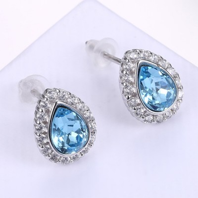 Cute Pear Cut Aquamarine S925 Silver Earrings