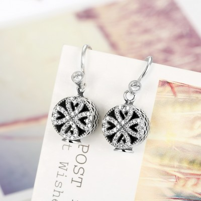 Round Cut Hearts White Sapphire S925 Silver Earrings