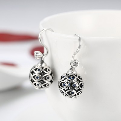 Round Cut Blue Sapphire S925 Silver Earrings