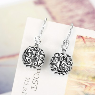 Round Cut White Sapphire Art S925 Silver Earrings