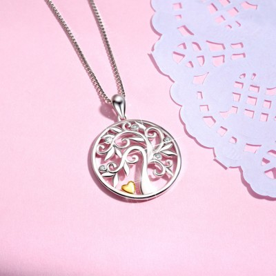 Tree Of Life 925 Sterling Silver Zircon Heart Necklace