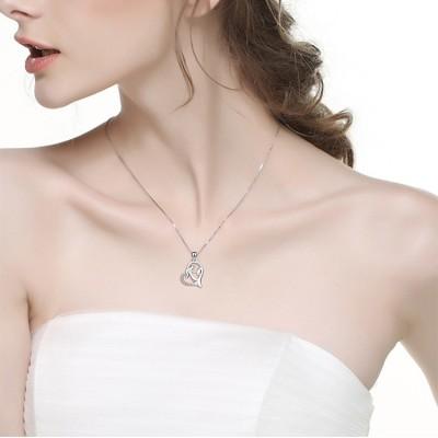 Maternal Love Heart 925 Sterling Silver Zircon Necklace