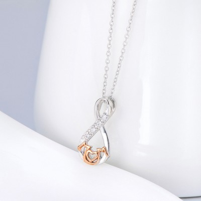 Gift for Mom 925 Sterling Silver Rose Gold Infinity Love Necklace