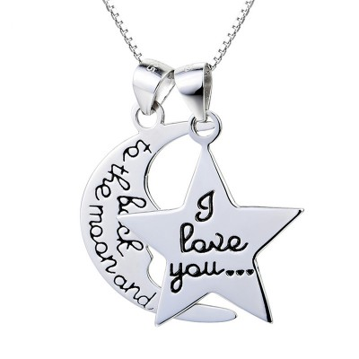 Moon & Star Love 925 Sterling Silver Necklace