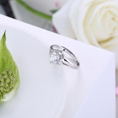 Round Cut White Sapphire S925 Silver Cute Engagement Rings