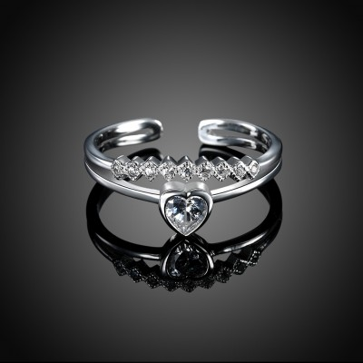 Heart Cut White Sapphire S925 Silver Heart Promise Rings
