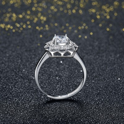Halo Round Cut White Sapphire S925 Silver Engagement Rings