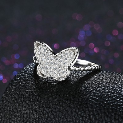 Round Cut White Sapphire Butterfly S925 Silver Promise Rings