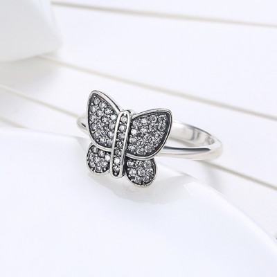 Butterfly Round Cut White Sapphire S925 Silver Promise Rings