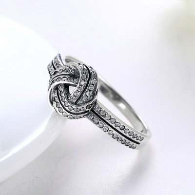 Cute Round Cut White Sapphire S925 Silver Promise Rings