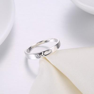 Cute Round Cut White Sapphire S925 Silver Wedding Bands