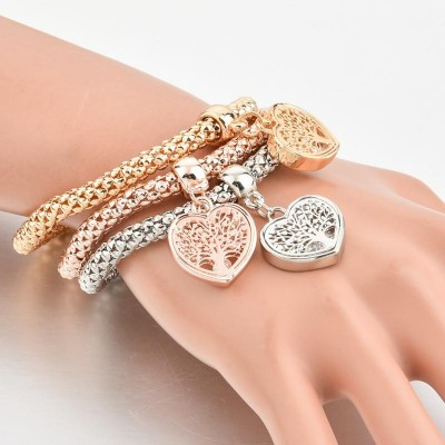 """""""Tree Of Life"""" Heart Edition Charm Bracelet Trio With Austrian Crystals"""