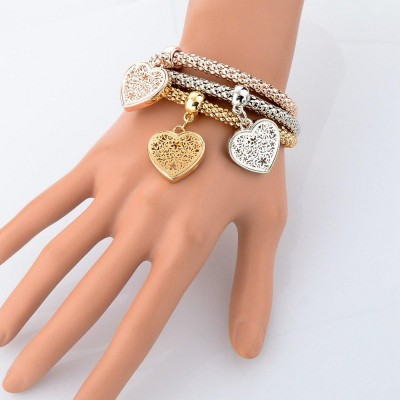 Heart Charm Bracelet Trio With Austrian Crystals