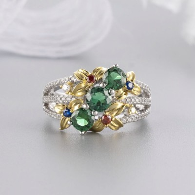 Round Cut Emerald 925 Sterling Silver Flower Gold Two-Tone Rings