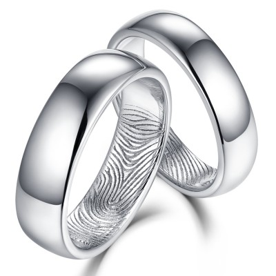 Beautifully Textured Fingerprint 925 Sterling Silver Couple Rings