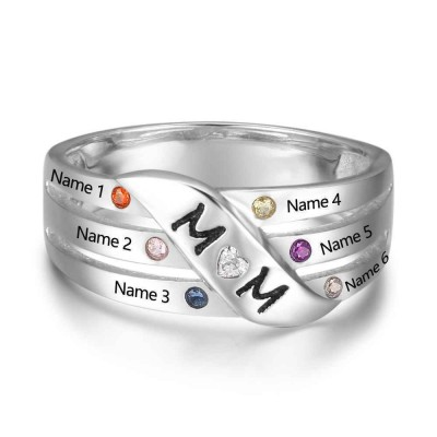 Engraved Round Cut 925 Sterling Silver Personalized Birthstone Mother Ring