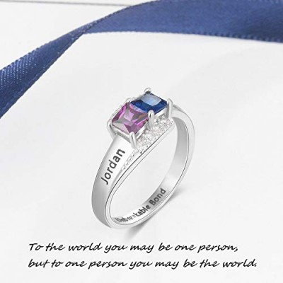 Engraved Princess Cut 925 Sterling Silver Personalized Birthstone Ring
