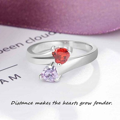 Heart Cut 925 Sterling Silver Personalized Engraved Birthstone Ring