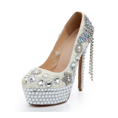 Women's Patent Leather Stiletto Heel Platform With Pearl Chain White Wedding Shoes