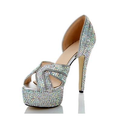 Women's Sheepskin Peep Toe Stiletto Heel Platform With Zipper Multi Colors Wedding Shoes