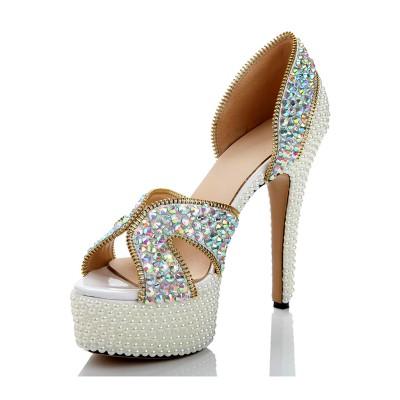Women's Sheepskin Platform Peep Toe Cone Heel With Zipper Platforms Shoes